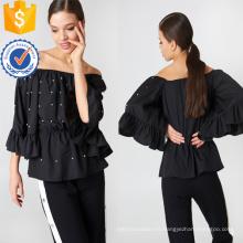 Ajuste flojo negro con volantes perlas embellecido fuera del hombro blusa de verano Fabricación venta al por mayor ropa de mujer de moda (TA0044B)
