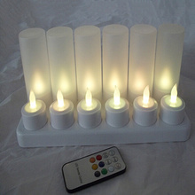 Truely flame remoted rechargeable LED tealight candle