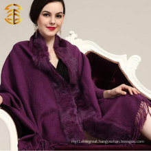 Women Wool And Cashmere Knitted Women's Rabbit Fur Shawl