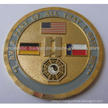3D Gold Plating & Soft Enamel Military Coin