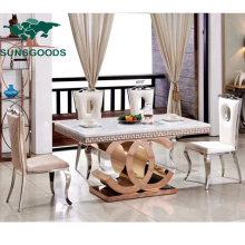 Luxury Restaurant Dining Hotel Banquet Wedding Furniture Square Table with Marble Top