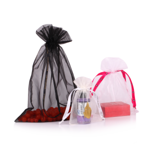 big Black organza bag with drawstring