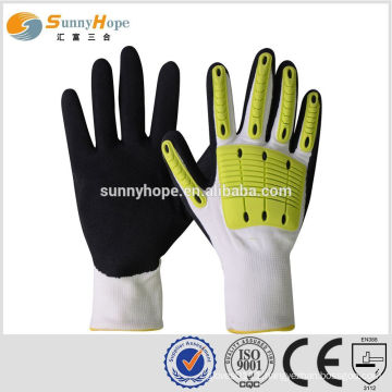 SUNNY HOPE 13gauge white liner Nitrile sandy impact gloves with TPR,sport hand gloves