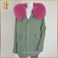 Cheap Colorful Bomber Coat Ladies Long Red Fox Fur Parka
