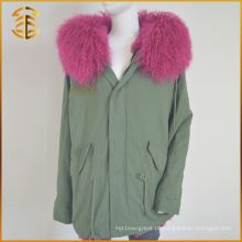 Barato Bomber Coat Ladies Long Red Fox Fur Parka