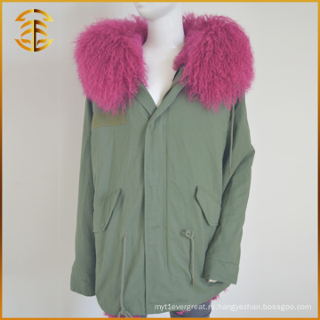 Дешевые красочные бомбардировочные пальто дамы длинная красная лисица меховая парка
