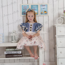 girl cotton chambray flutter sleeve dress