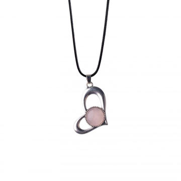 Rose Quartz Heart Alloy Pendant Silver Plated