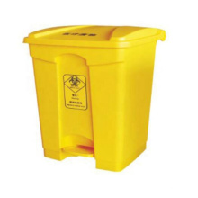 2021 new style mobile smart foot pedal control yellow colour medical plastic wastes bin for hospital clinic inpatient ward room