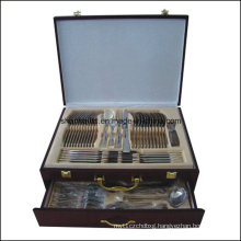 72/84PCS Stainless Steel Tableware Set Wood Box