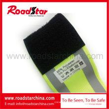 100% poliéster elástico gancho ajustável e uma braçadeira reflexiva da segurança de laço