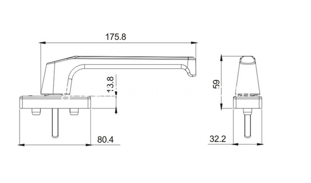 Window Handle,heavy duty,for sliding door, aluminium profiles, wood profiles,heavy tilt turn windows Drawing