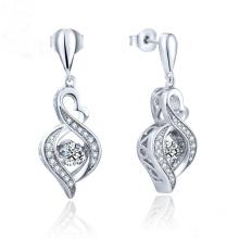 Fashion Jewelry Dancing Diamond 925 Silver Dangle Earring