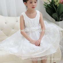 Blanco Comunión vestidos para las niñas 2016 encaje infantil desfile Flower Girl vestidos para bodas y fiesta de Navidad