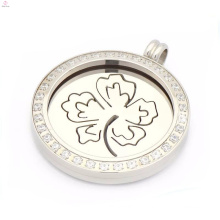 Top sale luck four leaf clover coin locket,coin pendants design