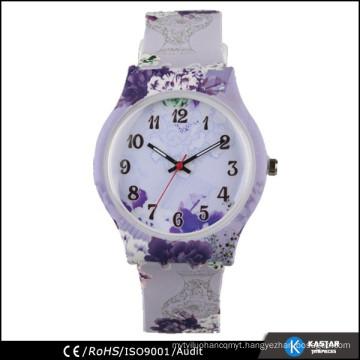 hotsale printing flower watch quartz, lady watches silicone