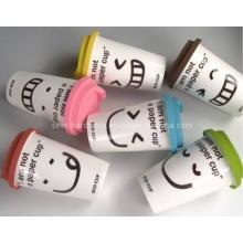 Tasse en céramique / tasse en céramique à double mur avec couvercle en silicone (SE-2121)