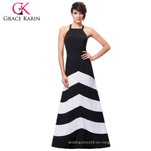 Grace Karin Mujeres Sexy Halter Verano Blanco Y Blanco Rayas Larga Long Maxi Vestido De Playa Vestido CL008932-1