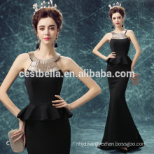 Long Black Mermaid Dress Evening Party Wear Halter Neck Evening Dress Black for Women