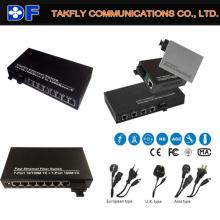 Fibra dual 40km 1310nm 8 puertos 10/100 / 1000Mbps conmutador de fibra óptica Ethernet
