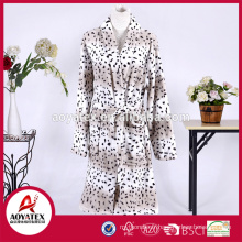 Women best selling cow print coral fleece microfiber bathrobe