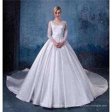 Vestido de novia de satén de manga larga con cuello en v elegante apliques v-cuello