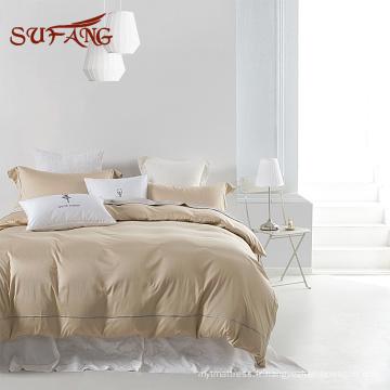 Newjersy populaire hôtel utilisé littel rétrécissement de l'eau poly coton satin beddding ensemble