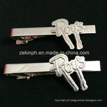 Prendedor de gravata cor prata personalizada para brinde promocional