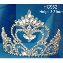 Reine plein tiare jouet couronne rose perle tiare mariage princesse rhinestone cristal beauté concours couronnes et tiaras en stock