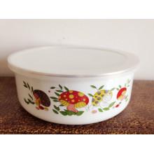 popular tazón de metal de recubrimiento de esmalte blanco para niños