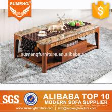 2017 последний стиль коричневый мрамор рамка твердой древесины журнальный столик для продажи