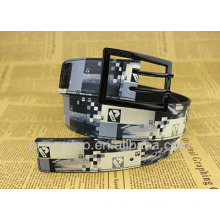 Colourful fashion custom printed leather belts with double pin buckle