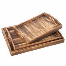 Set aus 3 rechteckigen Holzschachtel-Frühstückstabletts, Kaffeetisch / Butler-Serviertabletts, Dunkelbraun