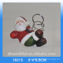Christmas giftware ceramic hanging ornament with santa figurine
