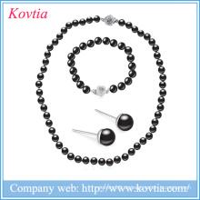 Neue Art und Weisehalskettenperlenschmucksachearmbandhighlight schwarze Perlenschmucksachesätze