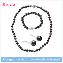 Nova moda colares pérola jóias pulseira destaque jóias de pérola negra conjuntos