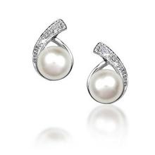 Bouton CZ Bague en perles d'eau douce nuptiale 925 Boucles d'oreilles en argent