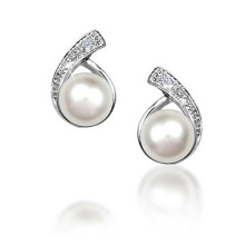 CZ Button Freshwater Pearl Bridal 925 Silver Stud Earrings Jewelry