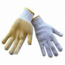 Gants en coton tricotés de qualité supérieure, gants en coton pointu en PVC