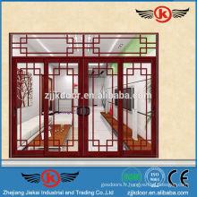 JK-AW9108 panneau de verre massif de luxe porte intérieure porte coulissante en aluminium