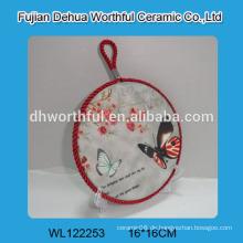 Modernes Design Keramik Trivet mit Schmetterling Malerei für Großhandel