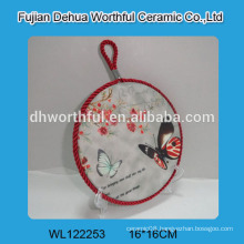 Modern design ceramic trivet with butterfly painting for wholesale