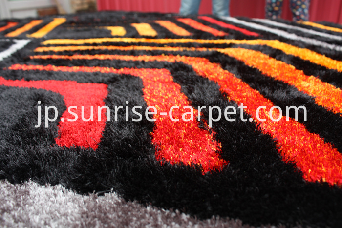 Polyester Shaggy Rug two yarn mixed with 3D design