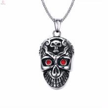 Hombres Sliver Punk Skull Mask Charms Joyería colgante de acero inoxidable