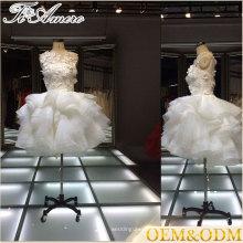 2017 marque célèbre Tiamero développé fleur blanche bulle robe de demoiselle d'honneur mini