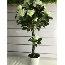 3 pies de rosa artificial blanca para uso interior y exterior