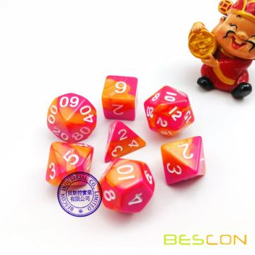 Polyhedral 7-Die Gemini Dice Set - Red-Orange in Swirled Effect