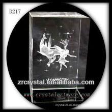 Capricornio subsuperficial 3D K9 dentro de rectángulo de cristal