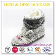 Hermoso tricotado emboss bunny diseño botas de interior para señora niños niña