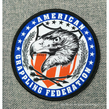 Cunstomized Top Quality Merrow tejido etiqueta hecha punto etiqueta tejida Logo